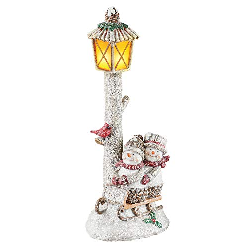 Collections Etc Lighted Happy Sledding Snowmen Lamppost Tabletop Seasonal Decor - Includes Faux Snow for Holiday Charm