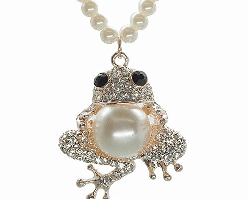 Sisfrog Crystal Frog Pendant Necklace White Simulated Pearl Frog Necklace, Birthday, Easter Gift for Women (Pearl Chain) -