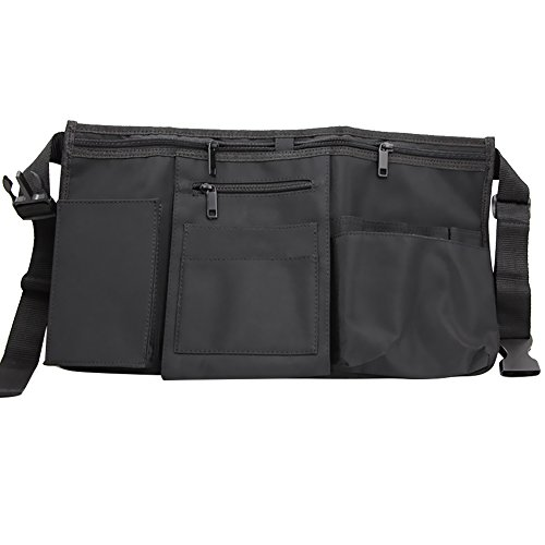 Ozzptuu Canvas Collapsible Professional Salon Scissors Makeup Storage Bag Hairdresser Tool Apron Pouch Bags Black