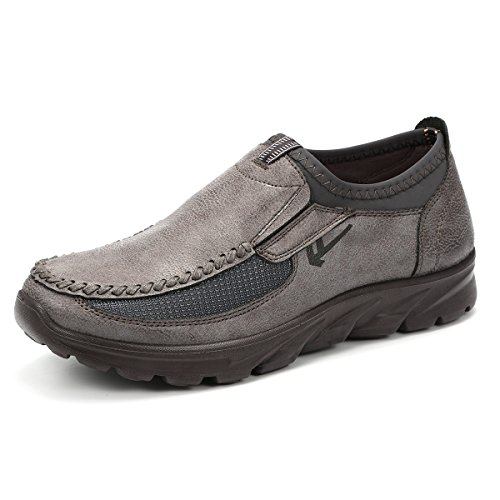 Non Slip Boat Shoes (Gracosy Slip-On Shoes, Men Hand Stitching Microfiber Leather Non-Slip Casual Shoes Slip-On Sneaker Walking Loafer Boat Shoe Grey 11.5 D(M) US)