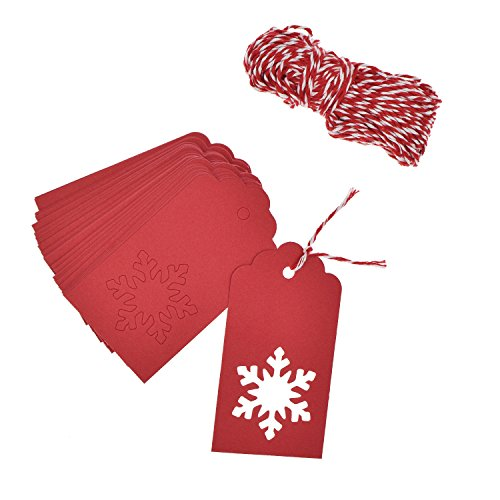 100 Pieces Christmas Kraft Paper Gift Tags Crafts Tags Snowflake Design Hang Labels 30 Meters red and white twine for DIY Arts and Crafts, Wedding Christmas Thanksgiving and (Crafts Gift Tags)