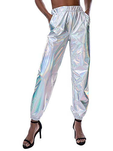 Oflive Women's Punk Style Shiny Loose Jogger Pants with Pockets (L, Colorful Silver) (Shiny Pants)
