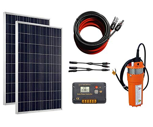 ECO-WORTHY Solar Water Pump Kit System, 2pcs 100 Watts Polycrystalline Solar Panel + 24V Submersible Well Pump + 20A Controller + 16ft Cable for Irrigation Garden Camping