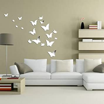 Amazoncom PCS D Mirror Butterfly Wall Stickers Art Decal - Wall decals mirror
