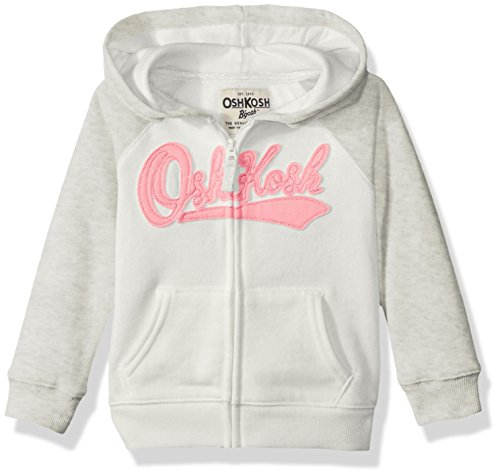 OshKosh B'Gosh Girls' Toddler Full Zip Logo Hoodie, Grey/Ivory, ()