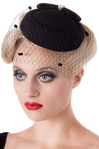 Banned Judy Vintage Retro Pillbox Hat - 7 Colours Available - Navy / One (Vintage Retro Hat)
