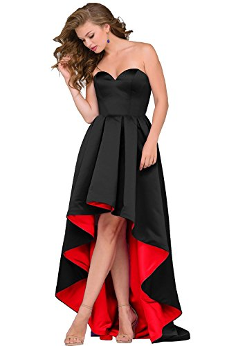 70cfe252e571b High Low Sleeveless Homecoming Prom Dresses Backless Satin Evening Formal  Gowns 2018 J18 (20W,Black/Red)