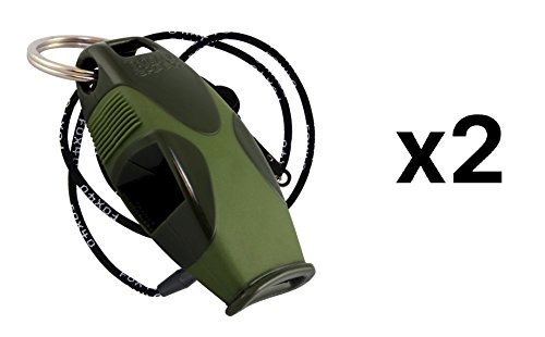 Fox 40 Sharx Whistle w/ Lanyard Referee Outdoor Safety Dog Green (2-Pack)
