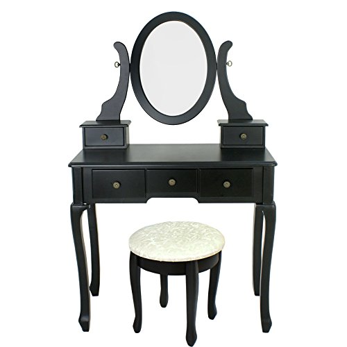 Vanity Table Set with Stool Dressing Table Set Solid Makeup Table with 5 Drawers and Mirror Black (black) by Nova Microdermabrasion