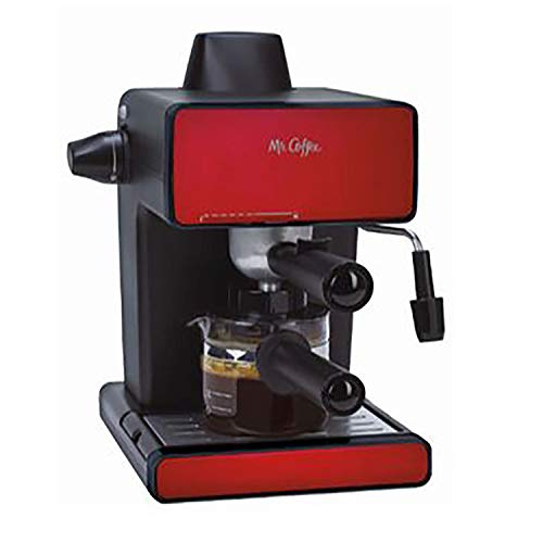 Mr. Coffee Red Stainless Steel 4 Cup Steam Espresso Machine and Cappuccino Maker