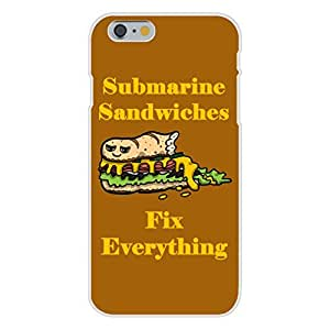 "Apple iphone 4 4s Custom Case White Plastic Snap On - ""Submarine Sandwiches Fix Everything"