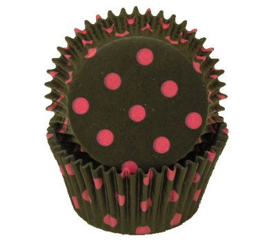 UPC 721762578148, Jubilee Sweet Arts Black Hot Pink Polka Dot Cupcake Muffin CupsStandard Size 50 count