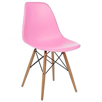 Delicieux Ariel DSW Pink Plastic Shell Chair With Wood Eiffel Legs