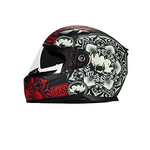 988 Moto-1 Full Face Matte Red Mandala Helmet DOT with drop down eye shade - Large