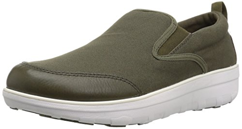 FitFlop Men's Loaff Skate in Canvas Sneaker, Camouflage Green, 13 M US