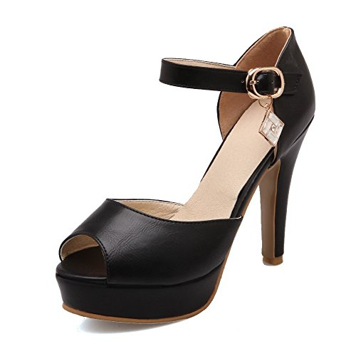 Amoonyfashion Donna Tacco Alto Materiale Morbido Fibbia In Punta Sandali Peep Toe Nero