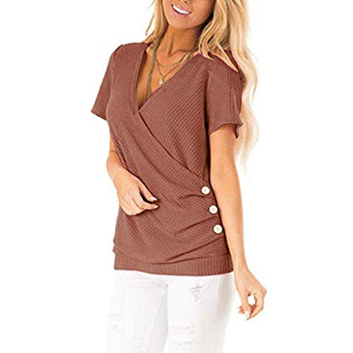Lloopyting Women's Fashion Sexy V-Neck T-Shirt Button Elastic Solid Color Casual Short-Sleeved Shirt Rose Gold