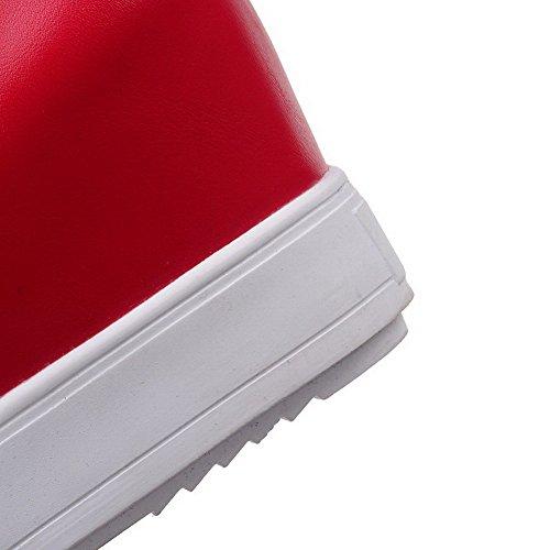 Odomolor Mujeres Plataforma Sólido Cremallera Puntera Redonda Cerrada De salón con Colgantes Rojo
