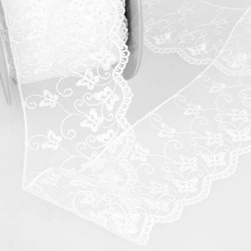 blanc Bordure dentelle en tulle broderie au m/ètre