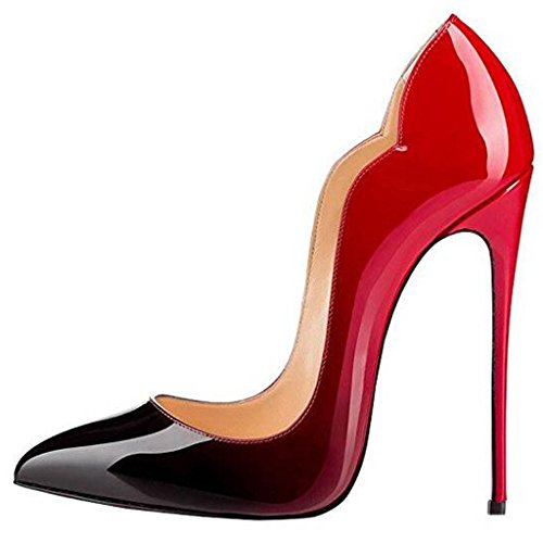 Stiletto Sexy Womens Toe Evening Pumps Lovirs Pointy Shoes High Wedding Red On Gradient Slip Heel PZqdw4WT