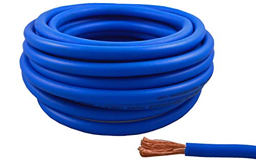 Wire Ground Blue Cable (4 Gauge 25 Feet Wire High Performance Flexible Amp Power Ground Cable 4 AWG (Blue))