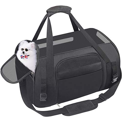 (Pet Carrier Dog Airline Approved Soft-Sided Portable Travel Bag for Small Dogs Cats Puppies Kittens Rabbits)