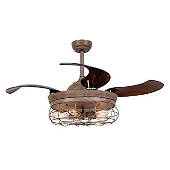 Image of Ceiling Fans with Lights 46 Inch Ceiling Fan with Remote Vintage Cage Chandelier Fans with Retractable Blades, 5 Edison Bulbs Not Included, Weathered Oak Wood Home Improvements