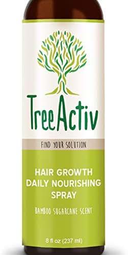 TreeActiv Hair Growth Daily Nourishing Spray, Natural Leave in Conditioner, Anti Frizz, Reduce Curly Frizzy Hair, Argan Oil, Biotin, Keratin, Silk Aminos, Tea Tree (Bamboo Sugarcane)