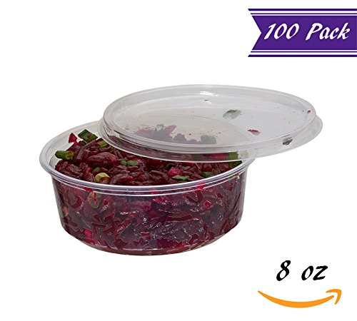 (100 Pack) 8 oz Deli Containers with Lids Combo, BPA-Free Translucent Plastic Deli Food Storage Containers with Lids, To Go / Take Out Food Containers by Tezzorio  by Tezzorio Disposable