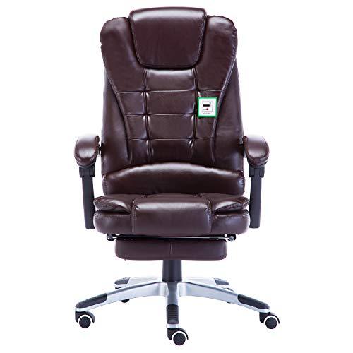 Ultimate Leather Executive Chair - JR Knight Ergonomic Executive Chair, Ultimate Comfort Design Home Office Computer Swivel Racing Chair, PU Leather Padding Desk Chair with Extended Legrest and Recliner (Brown)