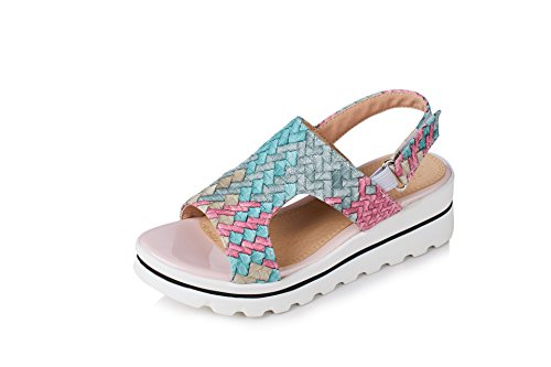Blue Sandales Toe Mot Bande Chaussures Pente Femmes Imperméable Forme Plate Tissée Open 1Bc4w