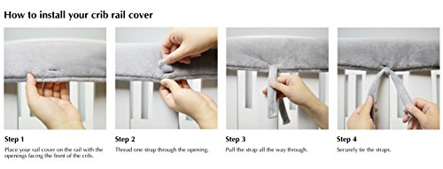 American Baby Company Heavenly Soft Narrow Reversible Crib Cover for Long Rail, Gray/White, for Crib Rails Measuring up to 4'' folded by American Baby Company (Image #3)