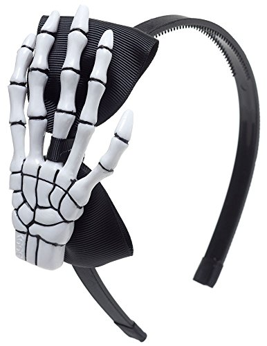 Skeleton Hand Bow Black Goth Headband Costume Halloween Cosplay Party