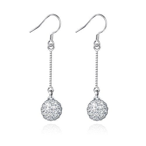 Silver Disco Ball Earrings (Jiayiqi Women's Charming Silver Plated Diamond Ball Long Chain Dangle Drop Earrings)