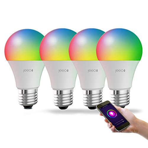 Jeeo Smart WiFi Light Bulb,LED Color Changing Dimmable Bulb,Compatible with Alexa, Google Home Assistant (No Hub Required), A19, 800Lumens, 60W,FCC RoHs CE Certified,Timer&Scheduler(4 Pack)