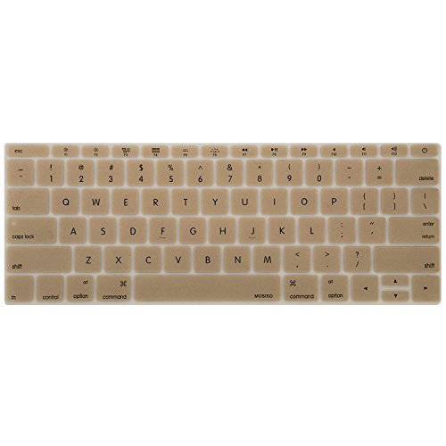 MOSISO Silicone Keyboard Cover Protective Skin Compatible with MacBook Pro 13 inch 2017 & 2016 Release A1708 Without Touch Bar, MacBook 12 inch A1534, Gold