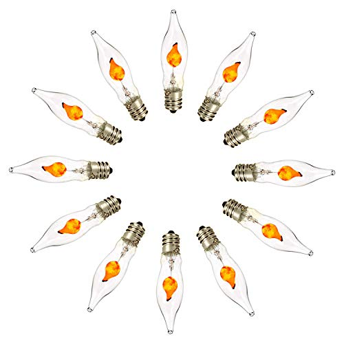 3W Chandelier Flicker Flame Bulb E12 Incandescent Decorative Chandelier Light Bulbs(12 Pack)- 130V E12 Candelabra Base Clear Flame Tip Candelabra Replacement Bulb for Electric Window Candle ()