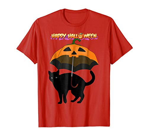 Happy Halloween Black Cat Umbrella Pumpkin