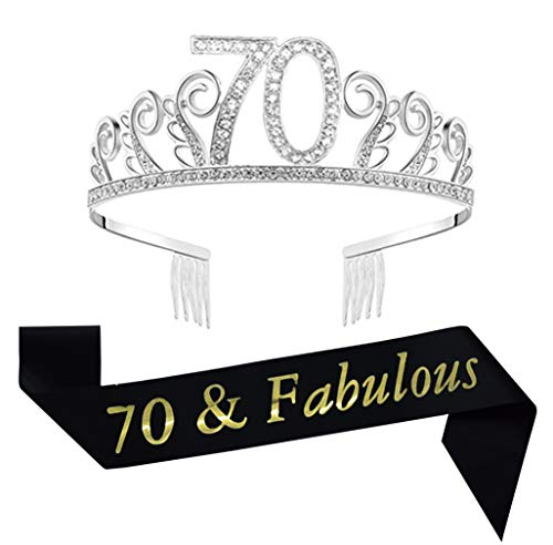 70th Birthday Tiara and Sash, Glitter Satin