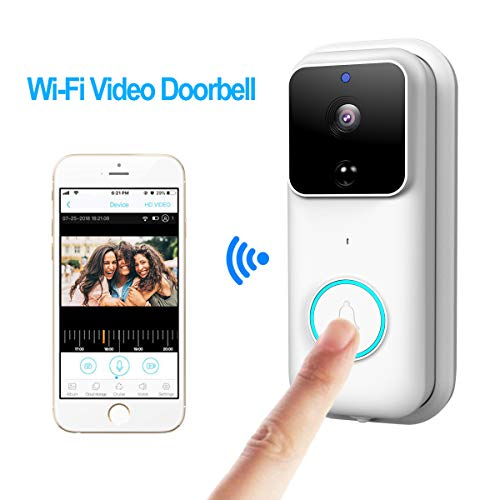 KAMRE Wireless Video Doorbell, HD 720P Home Security Camera with 166° Wide Angle/Two-Way Talk and Video/PIR Motion Detection/Night Vision, Built-in Two Batteries