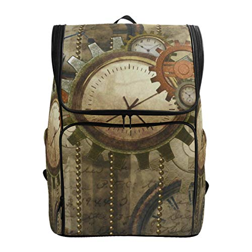 Laptop Backpack Retro Sawtooth Wall Clock College Backpack for Women Large Picnic - Wall Dimension Clock Camo