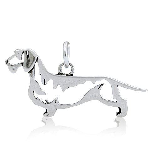 Sterling Silver Wire-haired Dachshund Pendant, (Wirehaired Dachshund)