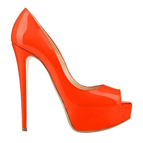 orange lackleder Arancione Scarpe Eks Tacco Con Donna gwxYwXqC