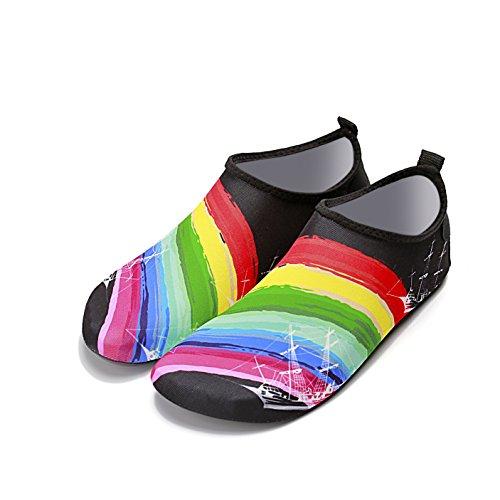 bambino nuoto pelle snorkeling vela scarpe rapida Rainbow da a genitore morbida di scarpe scarpe 1941 traspirante Lucdespo essiccazione outdoor in scarpe spiaggia di inferiore Nuoto barca e ZzYqO