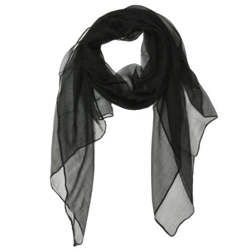Wrapables Solid Color 100% Silk Long Scarf, Black,One Size ()