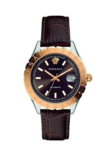 Versace-Mens-HELLENYIUM-Swiss-Automatic-Stainless-Steel-and-Leather-Casual-Watch-ColorBrown-Model-VZI020017