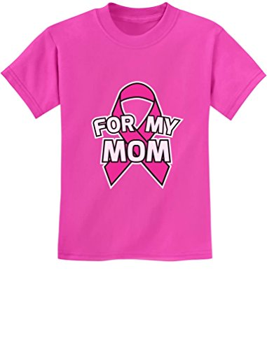 (Breast Cancer Awareness - Pink Ribbon for My Mom Youth Kids T-Shirt X-Small Pink)