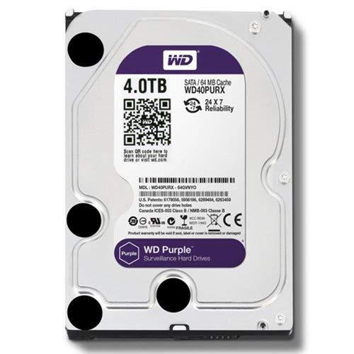 WD Purple 4TB Surveillance Hard Disk Drive - 5400 RPM Class SATA 6 Gb/s 64MB Cache 3.5 Inch - WD40PURX
