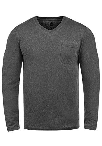 Them de manga Camiseta Solid hombres 9000 para Negro larga qTpgdwx67