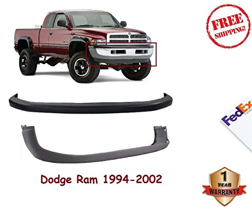 New Front Bumper Cover Valance Combo Kit w/o Sport Textured For 1994-2002 Dodge Ram 1500 2500 3500 Upper and Lower Old Body Style Set of 2 55076610AB 55076614AC